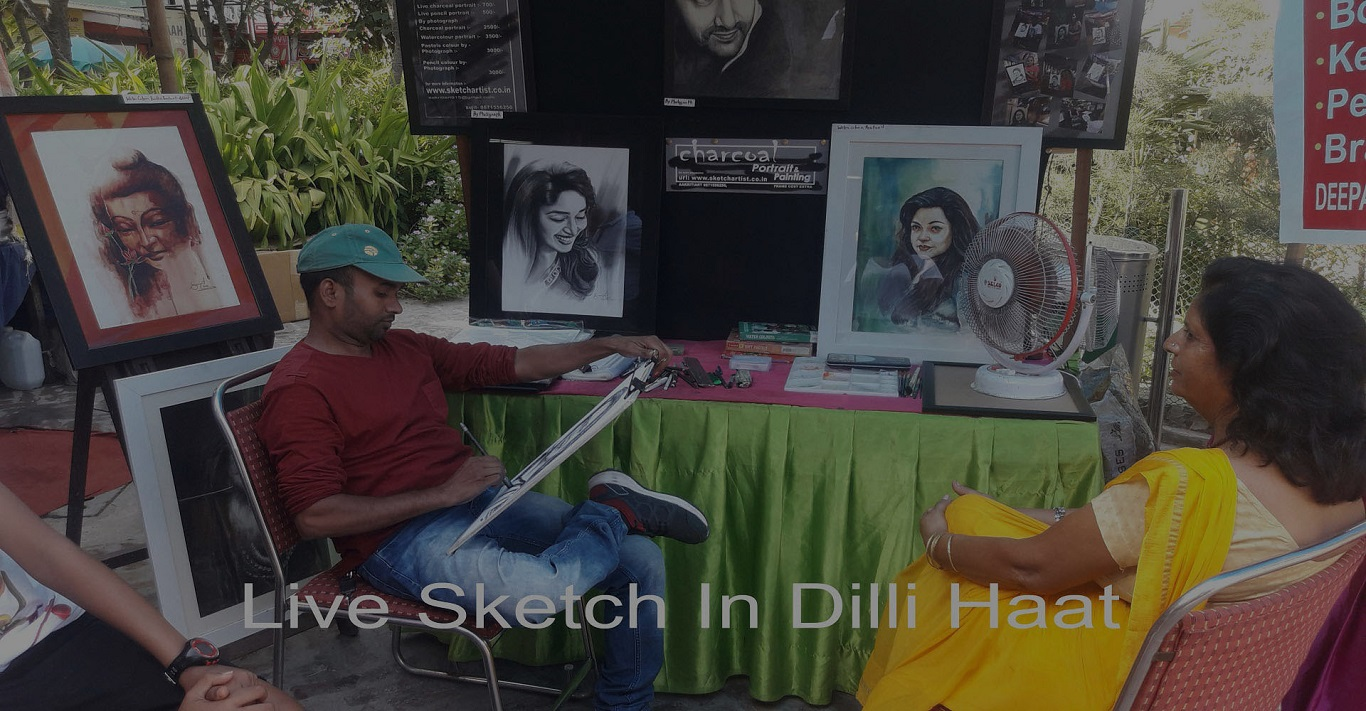 Live Charcoal Portrait Painting Work on Paper By Sujit Kumar in Dilli Haat & Delhi NCR
